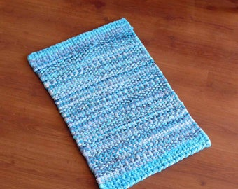 Aqua and Dove Gray Twined Rag Reversible Throw Rug