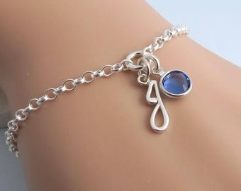 Personalised Birthstone Bracelet, silver initial bracelet, swarovski crystal