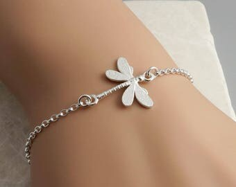 Skinny Silver Dragonfly Bracelet, Sterling Silver, dainty skinny bracelet