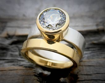 Engagement Ring 18K Gold and Sterling Silver Handmade by Wild Prairie Silver Jewelry