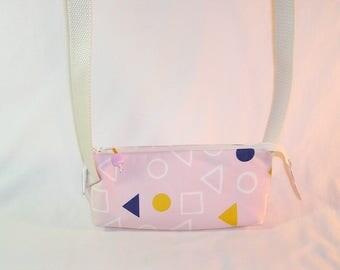 Geometry in Chalk Pink Crossbody Market Pouch