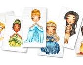 Digital Stamp Princess Bundle - Princess Coloring Pages - Princess Digi - Instant Download for Cardmaking