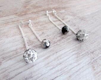 Backdrop Earrings - Black Crystal Earrings - Crystal Drop Earrings - Chain Dangle Earrings - Black Drop Earrings - Black Earrings