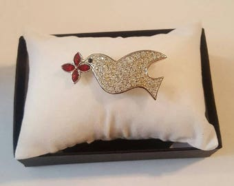 Vintage Swarovski Crystal Dove with Red Flower Pin or Brooch