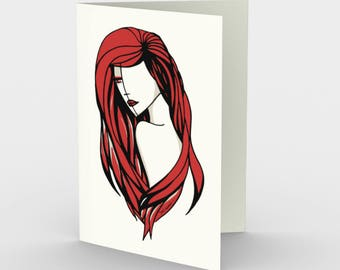 Pula - Stationary Card - Greeting Cards, Fashion Illustration, Red Hair