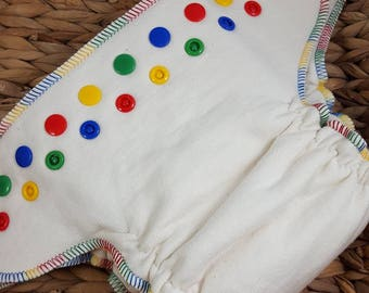 Rainbow Plain Jane - 100% Organic Cotton Fitted - One Size (11-35#) Cloth Diaper