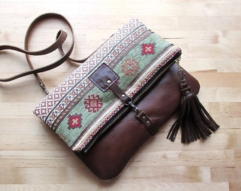 Crossbody leather bag, fold over purse, bohemian bag, carpet bag, hippie bag, tapestry clutch with leather tassel