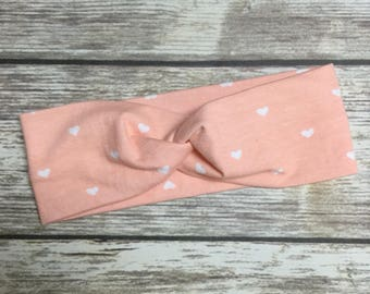 Twist Turban Soft Cotton Jersey Headwrap Headband - Infant Toddler Child Girl Adult - hearts on peachy pink