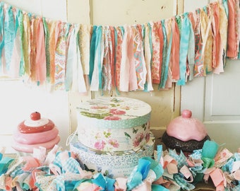 Shabby Chic Garland.  Girls Party Ribbon Style Fabric Garland Decor Fabric Backdrop.   YOUR colors 4-10 Foot Birthday Party Decor