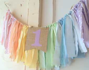 Girls High Chair Banner. First Birthday Party Supplies.  Shabby Chic High Chair Banner with Burlap Flag.  YOUR choice of colors theme