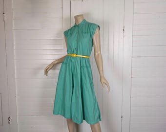 80s does 50s Dress in Jade Green / Aqua- 1980s Cotton Cap Sleeve & Peter Pan Collar, Pockets- Full Skirt- Small