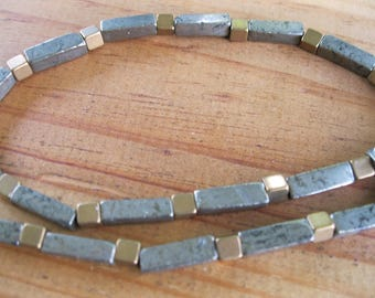 Pyrite Brass Column Necklace - Mens Necklace -  Rustic Necklace -  Industrial Necklace - Mens Beaded Necklace - Mens Jewelry