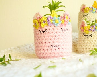 Unicorn Planter - Unicorn Vase - Pink Unicorn Head - Crochet Unicorn Head - Unicorn Lover - Unicorn Gift - Gift for Her - Gift for Sister