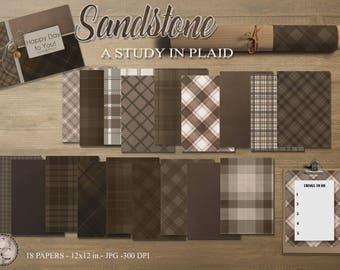 Sandstone-A Study In Plaid, 18 Digital Papers/ Orange Tones*****Instant Download