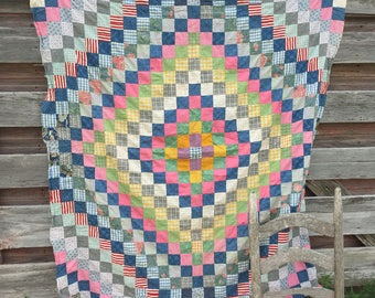 """Antique 1930's Feedsack Fabric Small Quilt topper Patchwork squares 50x54"""" Multi-Color"""