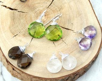 Interchangeable Earrings Set,Set of Four Gemstones,Peridot,Smokey Quartz, Rose Quartz,Amethyst,Sterling Silver,Set of Four Earrings