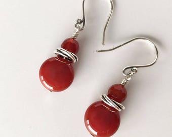 Orange Earrings, Carnelian Earrings, Deep Amber Earrings, Red Orange Carnelian Earrings