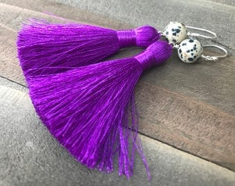 Purple Tassel Earrings with Dalmatian Jasper Bead Toppers - Tassel Boho Style Jewelry - TASSEL ME THIS in Purple Handmade by SplendorVendor