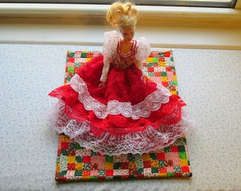 doll quilt red mini patchwork quilt hand quilted