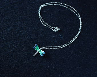 DRAGONFLY - sterling silver dragonflies, with enameled wings hand-painted - green, blue