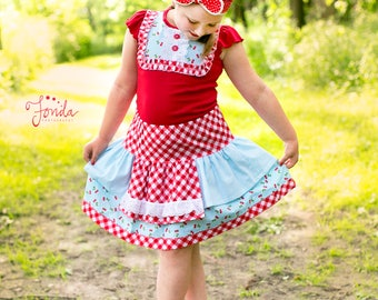Girls Cherry Picker Skirt set, apron skirt, red gingham, shirt and skirt set, ruffled bib shirt, cherry outfit, cherries, by Melon Monkeys