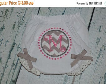 ON SALE Custom Applique Monogram Baby Bloomers Diaper Cover  Initial with Dots