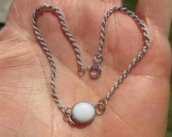 GLITTERY GUADALAJARA GLORY - Sterling Silver Mexican White Opal Wrist or Ankle Bracelet