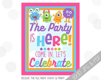 Monster Party Printables | Monster Welcome Sign | Door Sign | Girly Monster Sign | Girly Monster Party | Party Sign Girl Monster |