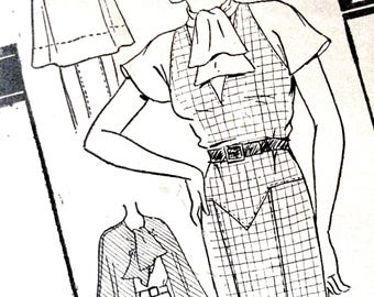 1930s Cape Sewing Pattern Excella E4045 Frock 1930s Dress Pattern Bust 36 inches