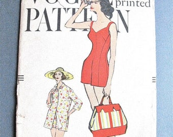 Vogue 9484 ©1958 One-Piece Bathing Suit and Coat Vintage Sewing Pattern Bust 36