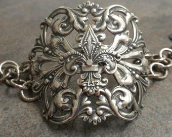 Renaissance Jewelry Silver Bracelet Fleur de Lis Cuff