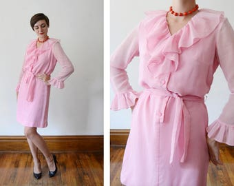 1960s Bubblegum Pink Ruffle Dress - S/M