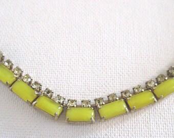 Vintage Yellow Glass & Rhinestone Necklace