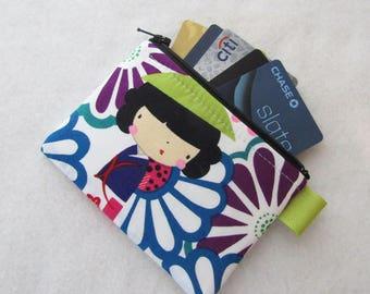 Kaori Kokeshi Womens Credit Card Case Zippered Coin Purse Wallet Business Card Holder Japanese Dolls Fabric Alexander Henry Pink Purple