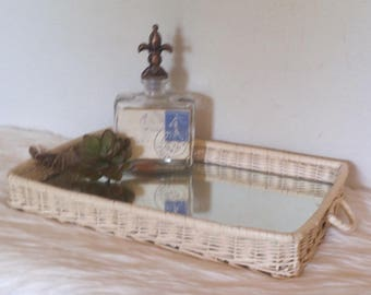 Vintage White wicker tray with inset mirror bottom ~ Shabby Chic Romantic cottage Tray