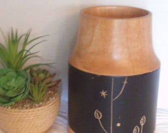 Vintage Wooden Utensil Holder ~ With Black background and etched flowers ~ Vase ~ Vessel