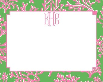 Coral Pink and Green Stationery, Invitation or Announcement Set