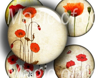 Red Poppies on Yellow - 252  12mm Circle JPG images - Digital  Collage Sheet