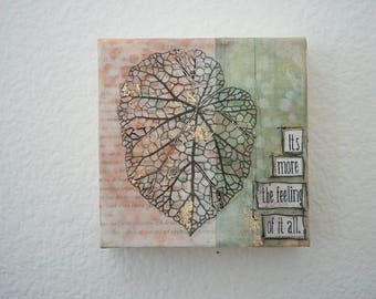Encaustic Botanical Painting - 5x5, Skeleton Leaf, Botanical Painting, Encaustic Art, It's more the feeling of it all