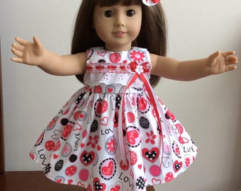 """Valentine's Day dress set for 18"""" American Girl doll"""