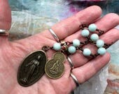 Two Mothers, One Heart Chaplet in Peking Onyx and Antiqued Brass