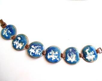 Vintage Copper Turquoise Enamel Link Bracelet, Modernist Abstract Enamel Bracelet, Blue White Swirl Enamel, MCM Enamel Copper Jewelry