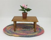 Vintage Dollhouse Coffee Table, Miniature Wooden Table