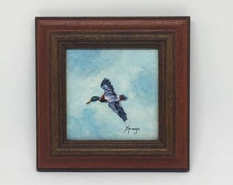 """Vintage Miniature Painting, Duck in Flight, Framed & Signed, Titled """"Little Jewels"""""""