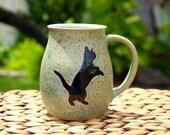 Ceramic CAT Coffee Mug - Handmade Speckled Blue Stoneware Cat Coffee Mug - Black Cat Silhouettes - Ready To Ship