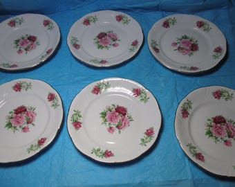 "Set of 6 Dessert Bread Plates Dish FORMALITIES BAUM BROS China In Maria Pattern with Roses and a Gold Trim rim each measures 7 1/2"" diameter"