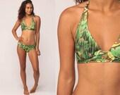70s Bikini Bathing Suit AVOCADO PRINT Two Piece Swimsuit Fruit 60s Swim HALTER Neck Boho Vintage Retro Boyshort Pin Up 1970s Extra Small xs