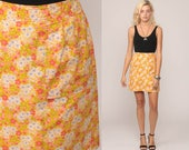 70s Mini Skirt Floral High Waisted Mod Skirt SKORT LINING 1970s Scooter Womens Retro Yellow Pink Skort Vintage Small