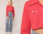 Red Polka Dot Shirt Cropped Blouse 70s Disco Top Bohemian Shirt 1970s Hippie Long Sleeve Button Up Boho Small Medium
