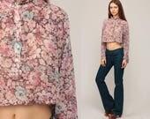 Boho Crop Top Floral Blouse 70s Button Up Shirt Sheer Pink Blouse Bohemian 1970s Vintage Hippie Romantic Long Sleeve Large